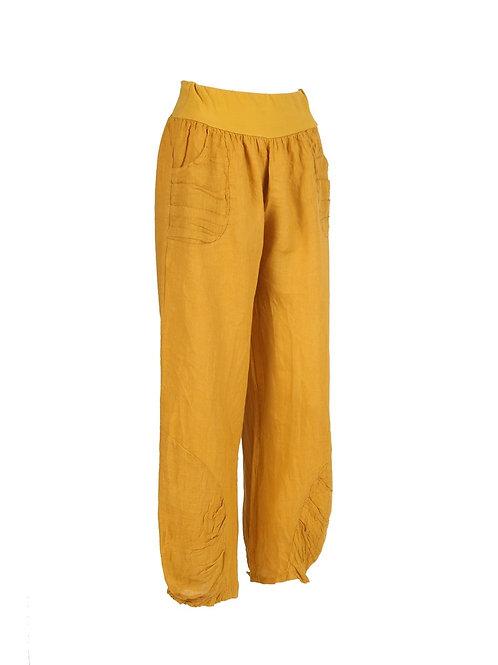 Italian Pleated Hem Linen Trouser