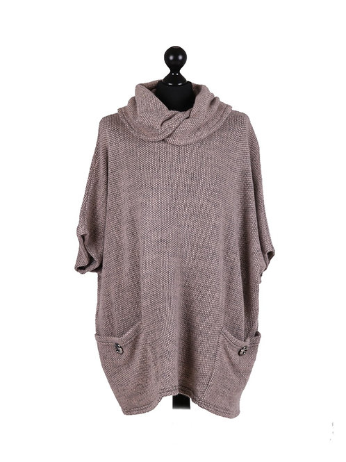 Italian Knitted Cowl Neck Front Pockets Batwing Lagenlook Jumper