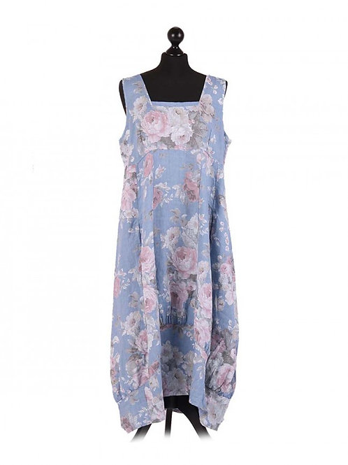 Italian Square Neck Floral Print Sleeveless Linen Dress