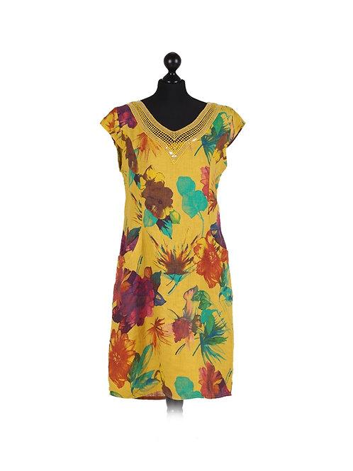 Italian Floral Print Crochet Neck Cap Sleeves Lagenlook Dress