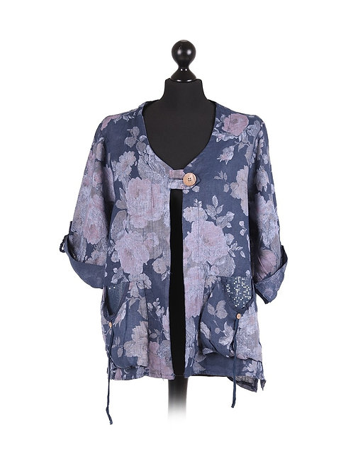 Italian Floral Print Front Pockets Lagenlook Linen Jacket
