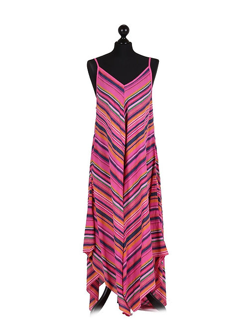 Italian V-Neck Stripy Lagenlook Dress