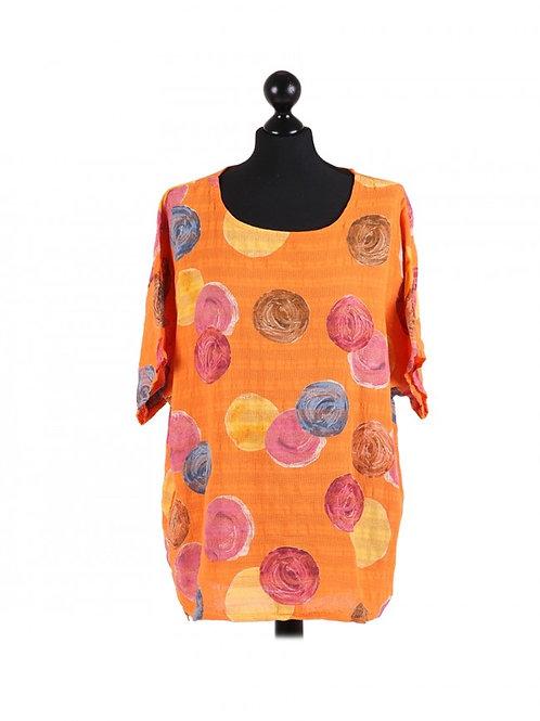Italian Multicolor Polka Dot Batwing Cotton Lagenlook Top