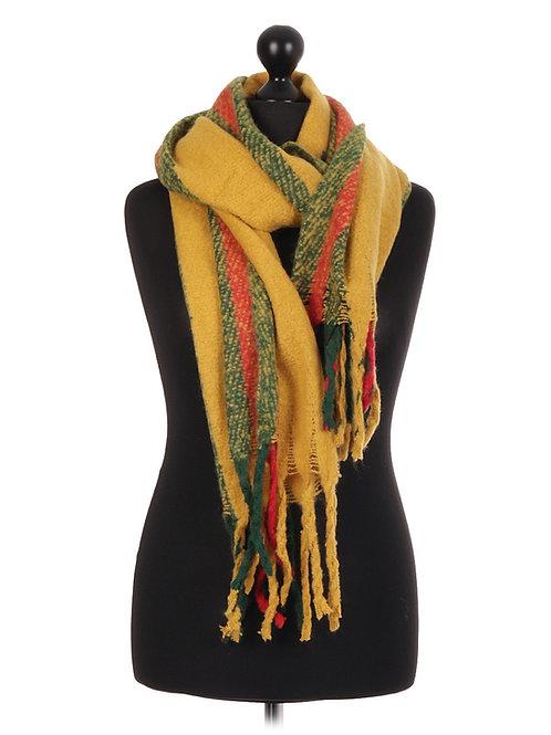 Italian Lana Wool Mix Stripe Pattern Scarf