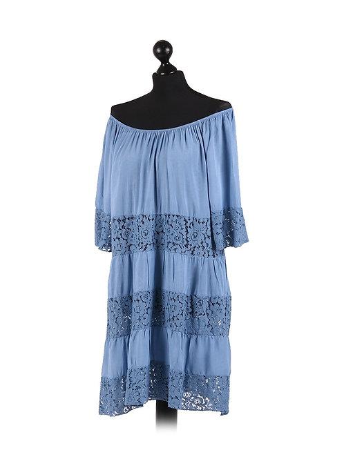 Italian Crochet Arm & Hem Off Shoulder Lagenlook Dress