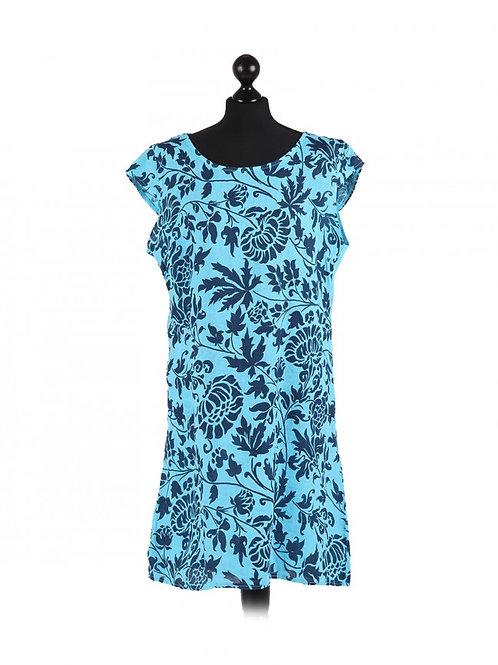 Italian Floral Print Cap Sleeves Linen Lagenlook Top