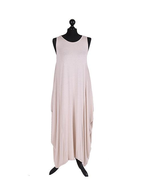 Italian Plain Viscose Sleeveless Lagenlook Maxi Dress