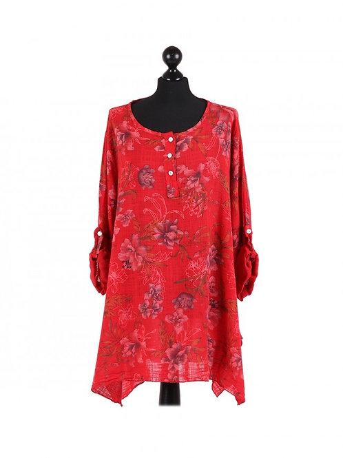 Italian Floral Print Cotton Plus Size Tunic