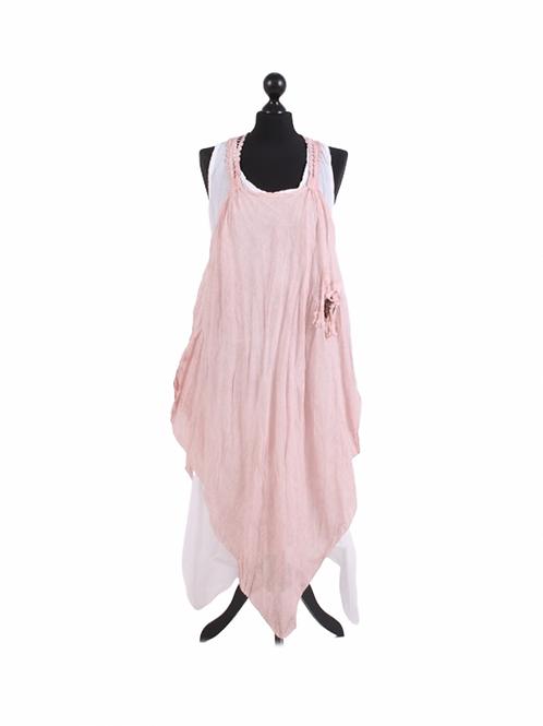 Italian Made Sleeveless Cotton 2 Layered Crochet Net Tunic Dress