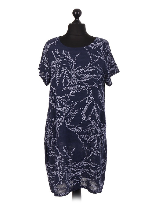 Italian Printed Short Sleeve Dress