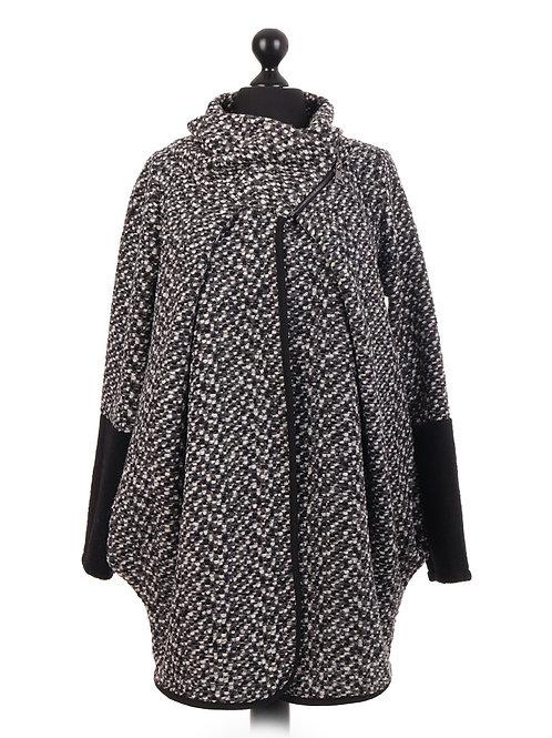 Italian Large Wool Mix Cocoon Coatigan Coat