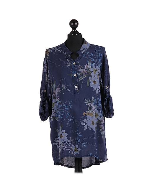 Italian Floral Print Cotton Hi-Lo Lagenlook Top