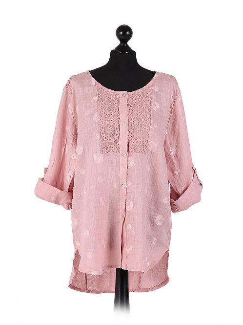 Italian Embroidered Lace Neck Linen Lagenlook Top