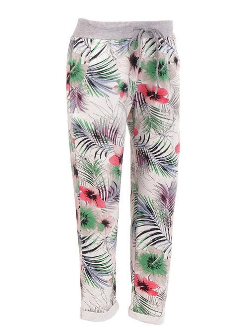 Italian Tropical Print Cotton Trouser