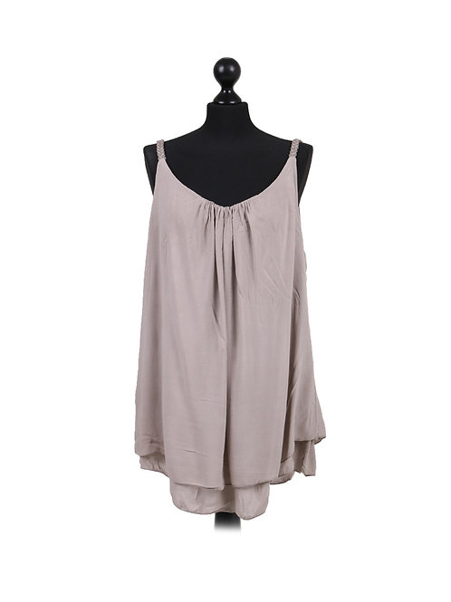Italian Plain 2 Layered Sleeveless Plus Size Lagenlook Vest