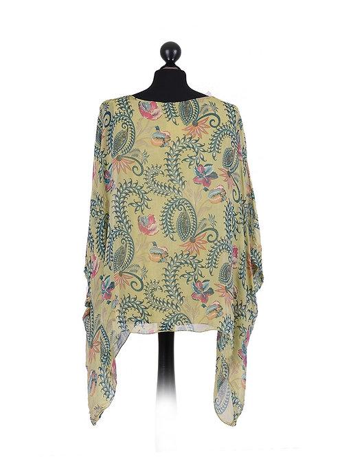 Italian Floral Print Batwing Tunic Silk Top