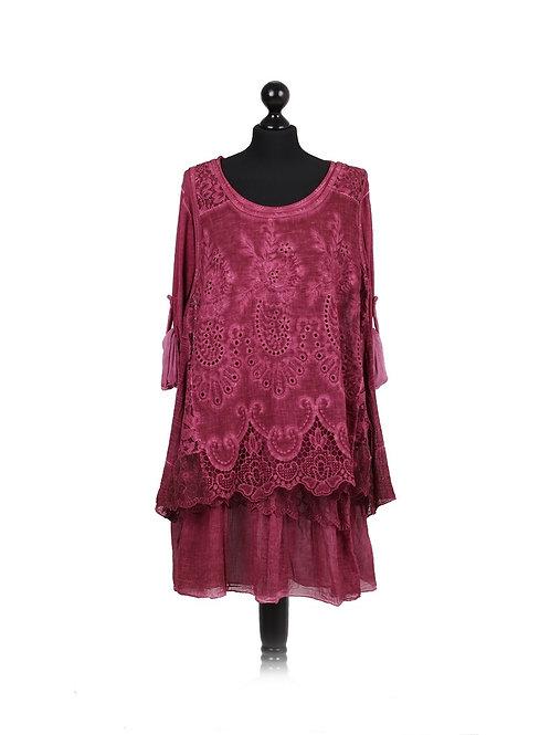 Italian Plain 2 Layer Crochet Net Cotton Lagenlook Top