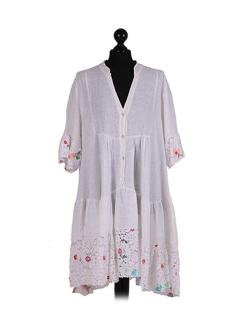 Italian Bell Sleeves Net Lace Hem Lagenlook Dress