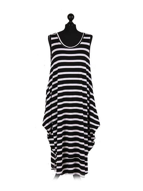 Italian Stripy Print Sleeveless Lagenlook Dress