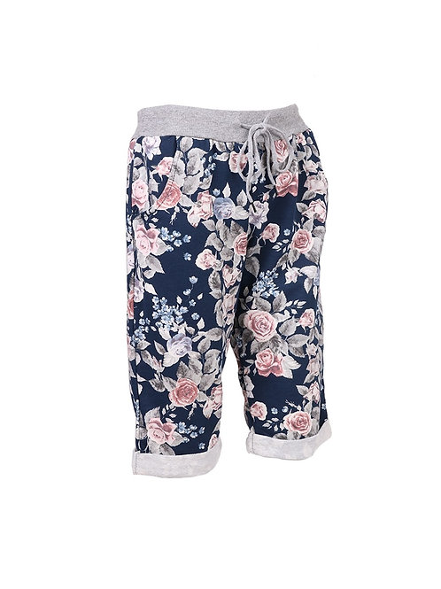 Italian Multicolor Floral Print Cotton Shorts
