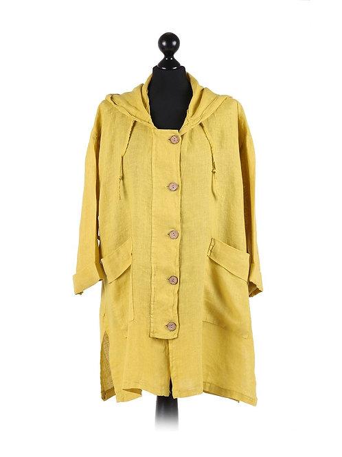 Italian Plain Linen Hooded Lagenlook Jacket