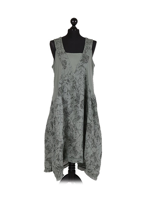 Italian Floral Print Ribbed Front & Sides Lagenlook Sleeveless Dress