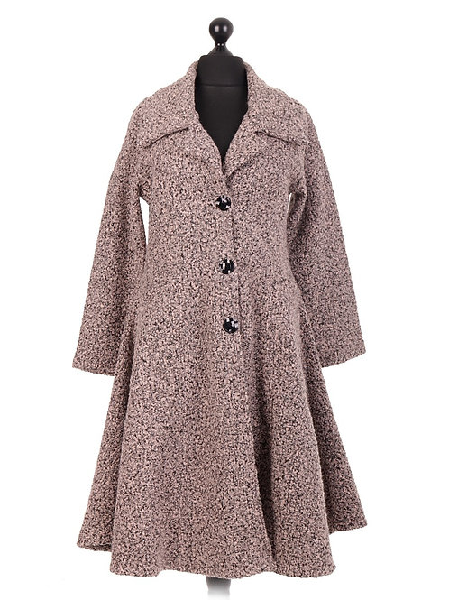 Italian Long Fitted Flared Lana Wool Coat