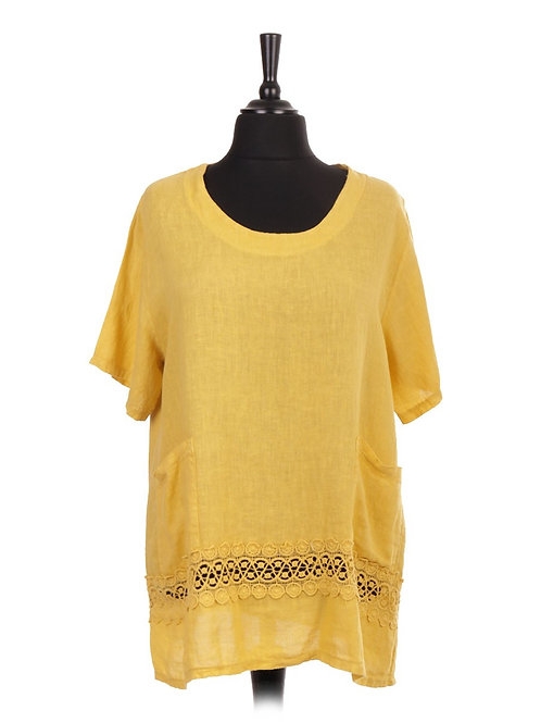 Italian Linen Top with Crochet Detail and Front Pockets
