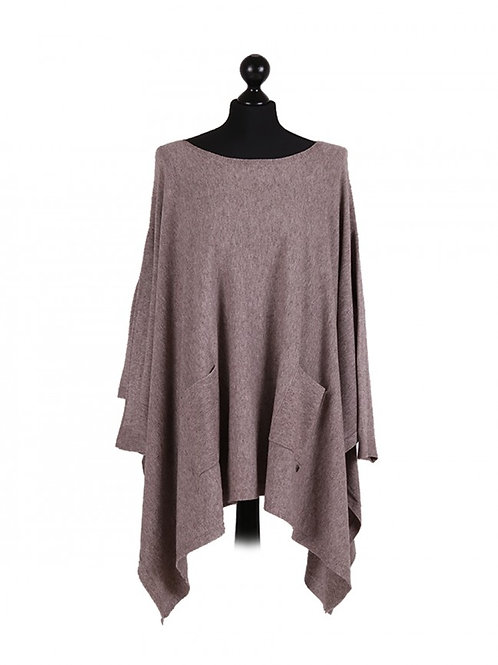 Italian Front Pockets Knitted Full Sleeves Lagenlook Poncho