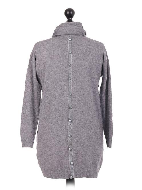 Italian Full Sleeves Pearl Scarf Knitted Lagenlook Jumper