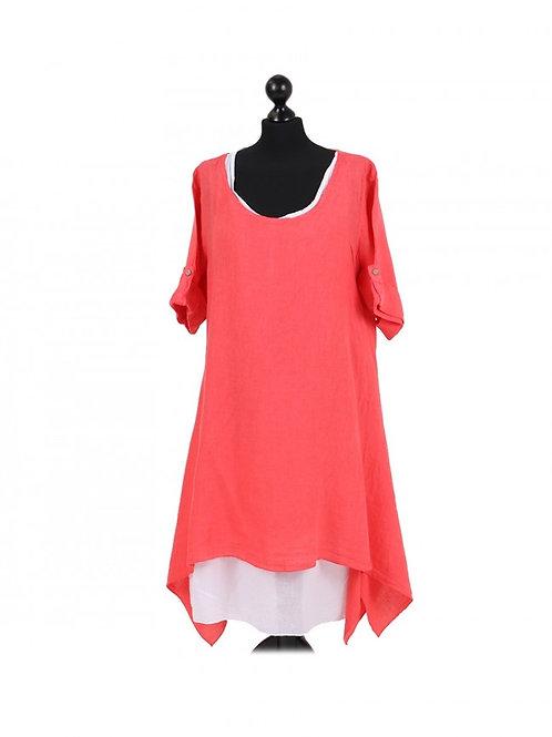 Italian Plain 2 Layered Linen Lagenlook Dress