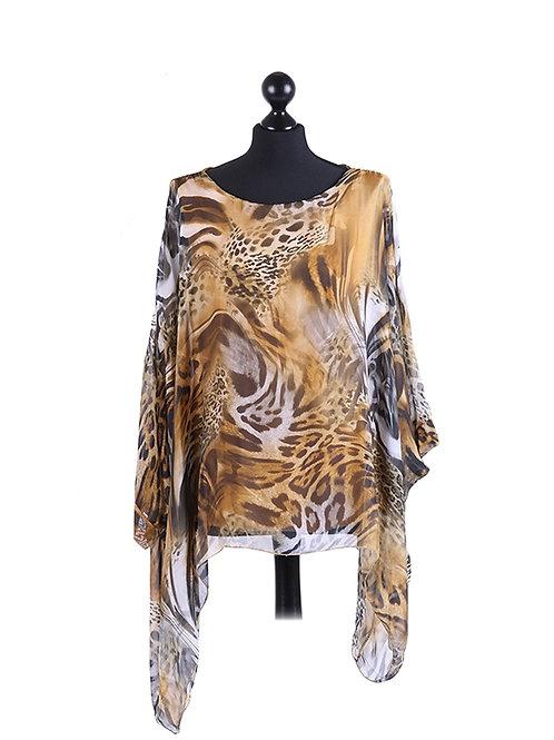 Italian Animal Print Lagenlook Silk Tunic Top