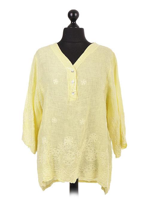 Italian Linen Embroidered Tunic Top