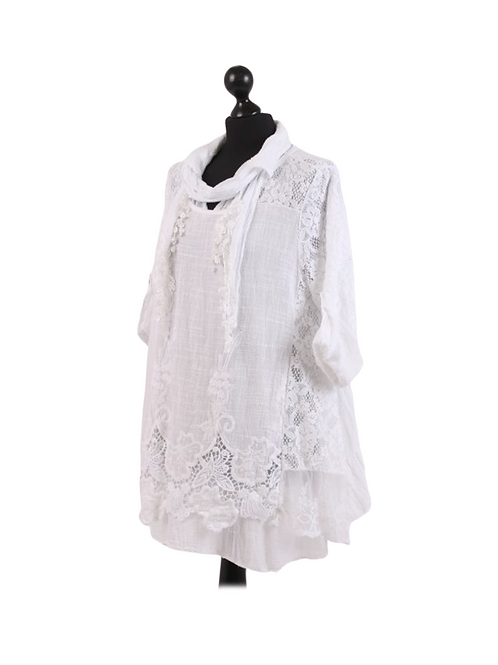 Italian 2 Layered Crochet Net Scarf Cotton Tunic Top