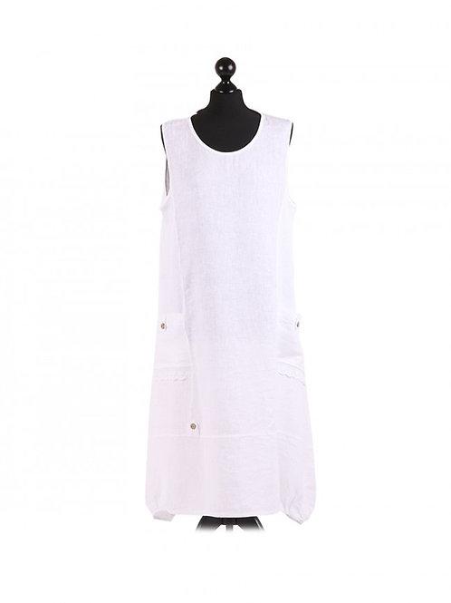 Italian Plain Ribbed Sides Sleeveless Cotton Lagenlook Dress