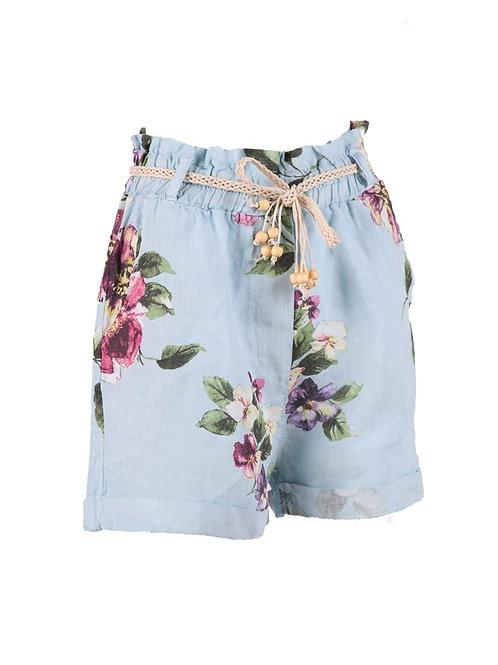 Italian Floral Print Lagenlook Linen Shorts