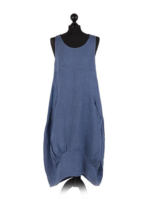 Italian Ribbed Sides Plain Linen Smart Dress