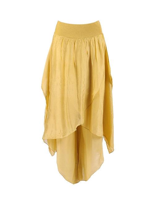 Italian Wrap Over Style Tulip Hem Silk Skirt