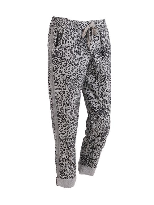 Italian Side Glittery Stripes Leopard Print Stretchable Trouser