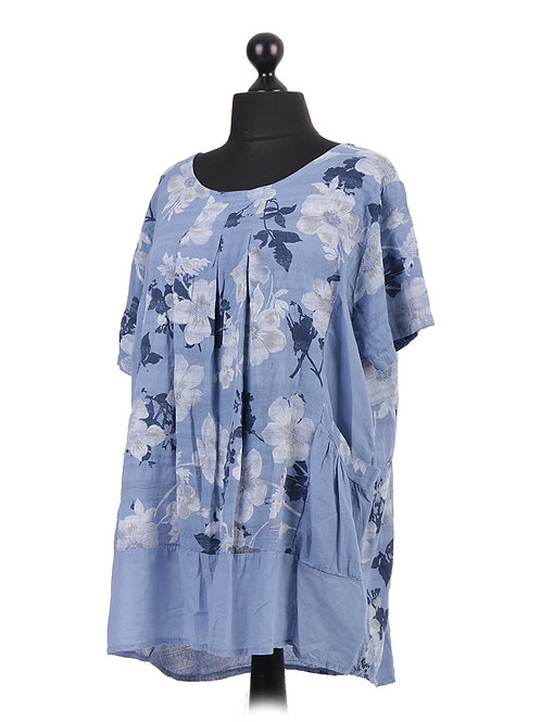 Italian Floral Print Pleated Top