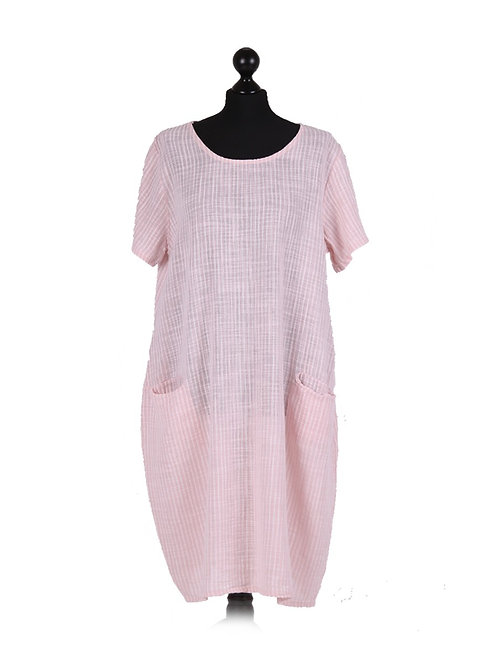 Italian Strip Print Lagenlook Cotton Dress