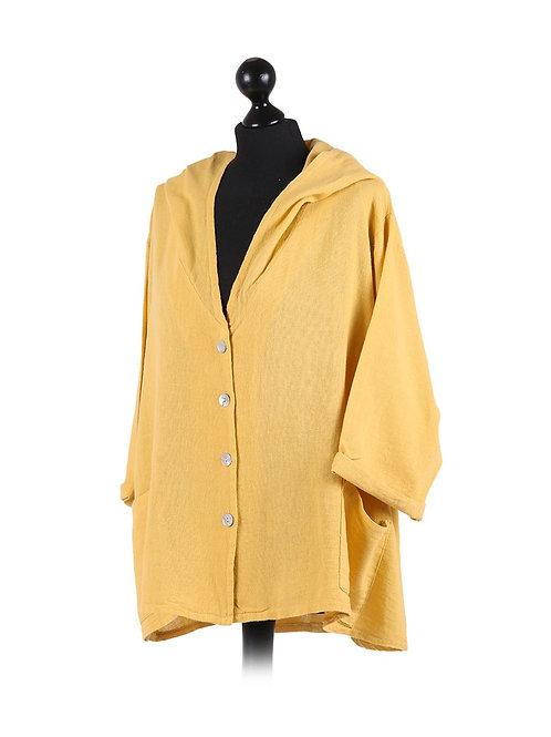 Italian High Low Hooded Linen Lagenlook Jacket