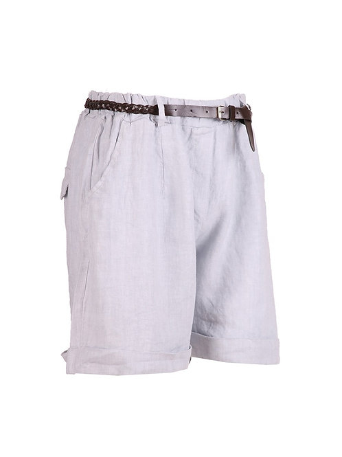 Italian Plain Plus Size Leather Waist Belt Linen Shorts