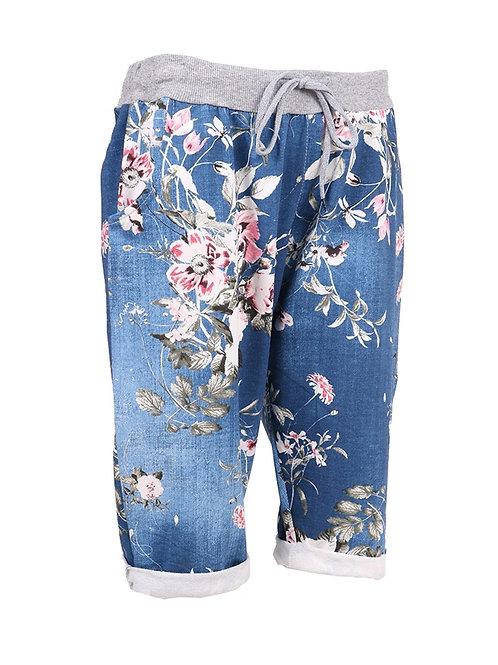 Italian Floral Print Plus Size Cotton Shorts