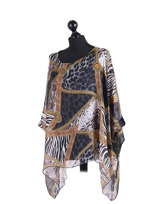 Italian Leopard Print Lagenlook Silk Batwing Tunic Top