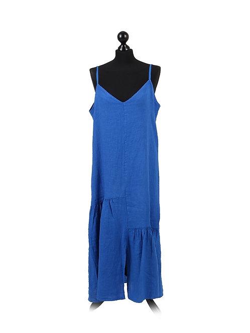 Italian Plain Linen Strappy Lagenlook Dress