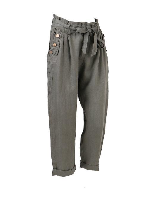 Italian Plain Linen Women Casual Trouser