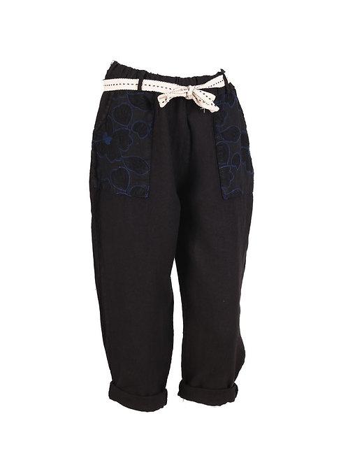 Italian Embroidered Pocket Linen Trouser
