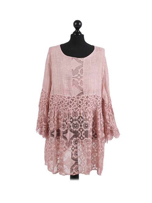 Italian Crochet Net Bell Sleeves Cotton Lagenlook Top