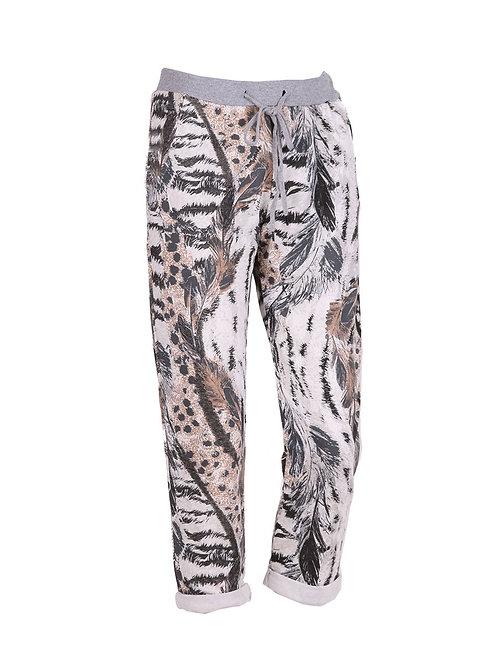 Italian Animal Print Cotton Trouser